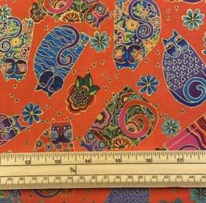 Fat Quarter Feline Frolic Laurel Burch Metallic Orange Cat 100% Cotton Fabric