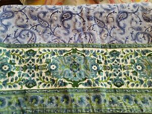 """POTTERY BARN Table Runner Blue Green Paisley Floral Cotton 18"""" x 108"""" (2 Avail.)"""