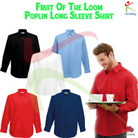 Fruit of the Loom Mens Long Sleeve Poplin Shirt Formal Occasion Work Wear Office