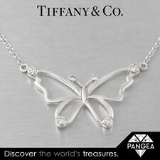 Tiffany & Co. 925 Sterling Silver Diamond Stencil Butterfly Necklace 0.44ctw