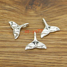 25 Fish Tail Fin Charms Whale Tale Mrine Sea Charm Antique Silver  17x20 3225