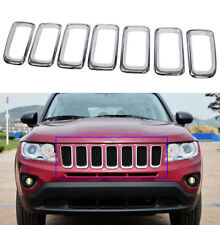 fit Jeep Compass 2011-16 Chrome Front Grille Vent Hole Grill Inserts Frame Trim