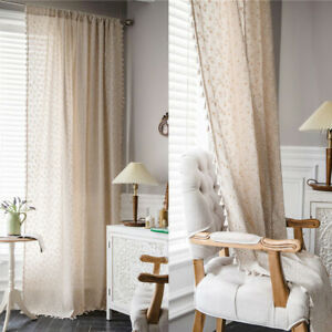 Cotton Linen Daisy Printed Curtains Tassel For Living Room Bedroom Window Drapes