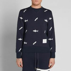 THOM BROWNE Embroidered Shark and Surfboard Crew Sweater - Size 1 RRP USD$1,149