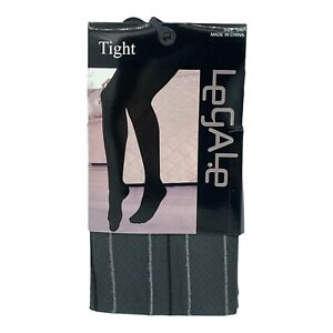 New Legale Tights Size S/M Small Medium Striped Grey And Black Pinstripe Cute