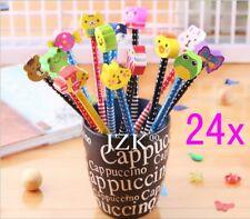 JZK Set 24 matita in legno con gomma matite grafite colorate con gomme (z5U)