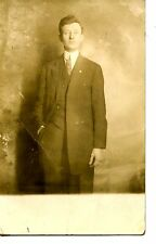 Young Man-Hand in Pocket-Stick Pin-Long Jacket-RPPC-Real Photo Vintage Postcard