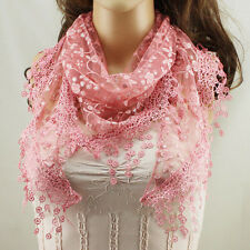 Women Lace Tassel Rose Floral Knit Mantilla Triangle Hollow Scarf Shawl Wraps J