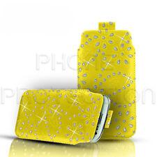 Diamante Bling Cuero tire Tab Funda bolsa se adapta a la mayoría de teléfonos Sony Ericsson