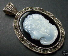 925 STERLING SILVER MARCASITE MOP CAMEO PENDANT 2 2/8""