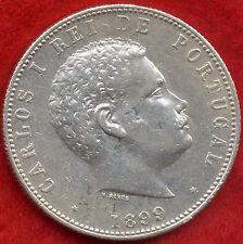 SUPERB RARE 1000 REIS SILVER PORTUGAL COIN 1899 KING D.CARLOS I VF!!!