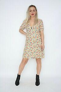 Ex Nobodys Child Mint+Red&Orange Ditsy Floral Button Front Mini Dress Size 6-8