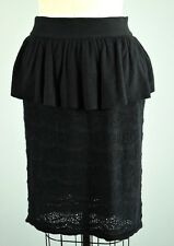 KNITTED & KNOTTED Anthropologie Stretch Eyelet Knit Peplum Skirt Size XS