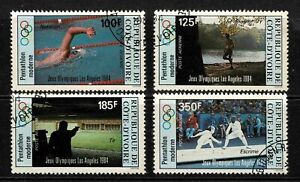 Ivory Coast 1984 Los Angeles Olympic Games Airmail Set Of Four Stamps - MUH/CTO