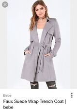 NEW LS-DRAPED-FAUX-SUEDE-COAT SIZE SMALL COLOR GREY STYLE # 276917