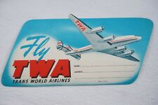 Fly TWA Trans World Airlines Airline Luggage Label