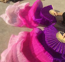 2(Left+Right) 100%Real silk belly dance fan veil 1.8m purple+rose+pink