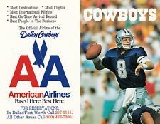 1991 DALLAS COWBOYS FOOTBALL POCKET SCHEDULE - UNFOLDED TROY AIKMAN