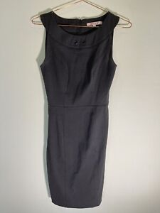Review Dress Charcoal Grey / Black - 6 - Knee Length - Stitching Needed