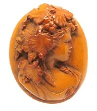 Victorian Carved High Relief  Lava lady Cameo  Brooch