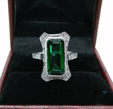 14K White Gold Finish 5CT Large Emerald Cut Antique Art Deco Engagement Ring $$$
