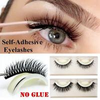Pro No Glue Required Self-adhesive Eye Lashes 3D Faux Mink Hair False Eyelashes
