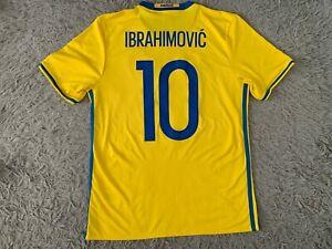 Sweden Home Football Soccer Shirt Jersey 2015 2016 Adidas Ibrahimovic #10 M
