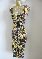 KAREN MILLEN Floral Daisy Print Galaxy Crayon Wiggle Robe Cocktail Taille 10