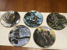 1986 Set Of 5 Noble Owls Of America Decorative Plate Collection By Spode England