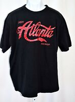 "Enjoy Atlanta Georgia Black 2XL 48"" Chest Coca Cola Red Graphic Font T Shirt"