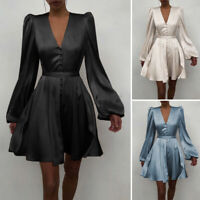 Womens V Neck Button Shirt Dress Ladies Evening Party Prom Silky Dresses UK 8-26
