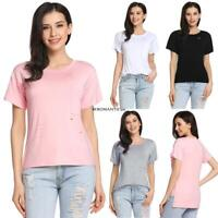 New Women Casual O-Neck Short Sleeve Solid Asymmetrical Hem Elastic BE0R 01