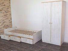 Jugendzimmer komplett Bett Jugendbett Schrank 2  Kinderzimmer WEIß-GRAU NEU TOP!