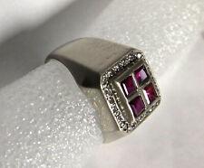 Herren Ring 14K Weiß Gold 585 mit Rubinen Diamanten Größe 64- 9,6g