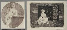exlibris ex-libris  Nude  Book art Blyumkin lot of 2 etching
