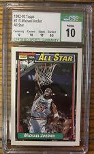 1992-93 Topps #115 Michael Jordan All-Star - CSG 10 Pristine w/ Sub grades