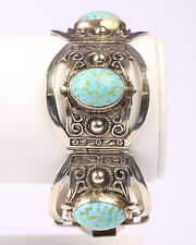 Vintage 1960s Mexican Alpaca Silver bracelet with Faux Turquoise