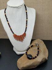 Set Artisan Goldstone Fan, Orange & Black Glass Bead Toggle Necklace & Bracelet