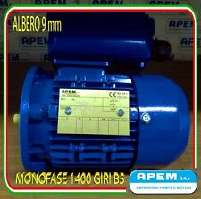 MOTORE ELETTRICO MONOFASE CV.0,12 KW.0,09 1400G/MIN MEC 56 B5 ALBERO 9mm NUOVO!!