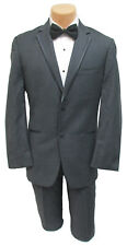 Men's Dark Grey Tuxedo with Flat Front Pants Prom Groom Wedding Party Cruise