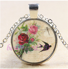 Roses Bird Dragonfly Cabochon Glass Tibet Silver Chain Pendant Necklace