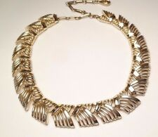 VINTAGE BEAUTIFUL CORO GEOMETRIC GOLD TONE LINK CHAIN NECKLACE COLLAR 16.5""