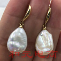 14-18MM HUGE baroque pearl earrings 18K gold plating party south sea earbob