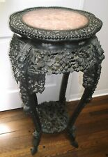 New listing Chinese antique carved table with round scalloped top and round marble insert