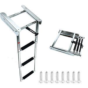 in-Board Swim Fiberglass Platform BAYSUN Stainless Steel Telescoping 4 Steps Ladder Welded Reinforce Folding Docking Ladder