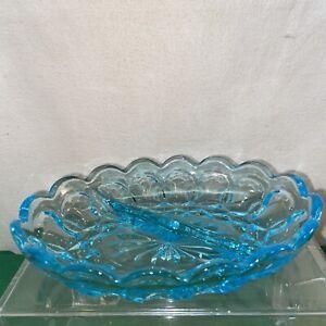 Vtg 1940-50's Indiana Glass  AQUA TURQUOISE BLUE  Thumbprint Divided Candy Dish