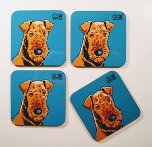 Airedale terrier set of 4 coasters