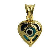 14K Real Yellow Gold Heart Evil Eye Tiny Small Charm Pendant Mal De Ojo