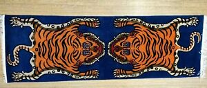 Rare Genuine 100% Tibetan Hand knotted Double Tiger 6x2ft Rug Carpet 100 knots