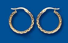 Hoop earrings Gold Creole Hoops Diamond Cut Yellow gold 18mm Hallmarked